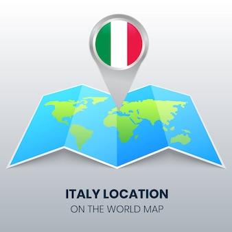 世界地図上のイタリアの場所アイコン、イタリアの丸いピンアイコン