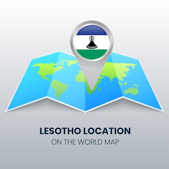 世界地図上のレソトの場所アイコン