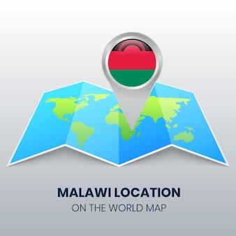 世界地図上のマラウイのロケーションアイコン、マラウイの丸いピンアイコン
