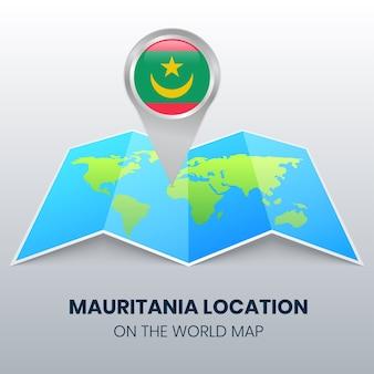 世界地図上のモーリタニアの場所アイコン、モーリタニアの丸いピンアイコン