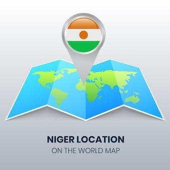 Значок местоположения нигера на карте мира, круглый значок булавки нигера