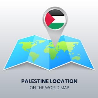 世界地図上のパレスチナの場所アイコン、パレスチナの丸いピンアイコン
