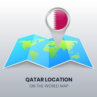 Значок местоположения катара на карте мира, круглый значок булавки катара