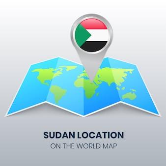 世界地図上のスーダンの場所アイコン、スーダンの丸いピンアイコン