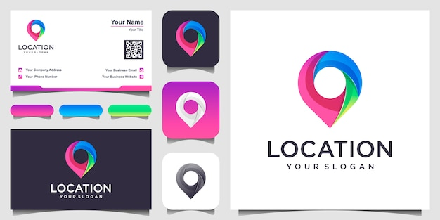 Location icon  . pin sign isolated with design business card.