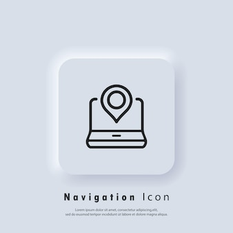 Location icon. pointer icon on laptop. gps location. map pin icons. vector eps 10. ui icon. neumorphic ui ux white user interface web button. neumorphism