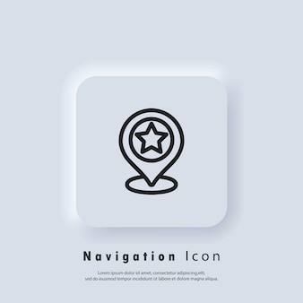 Location icon. pointer sign with star. gps location. map pin icon. vector eps 10. ui icon. neumorphic ui ux white user interface web button. neumorphism