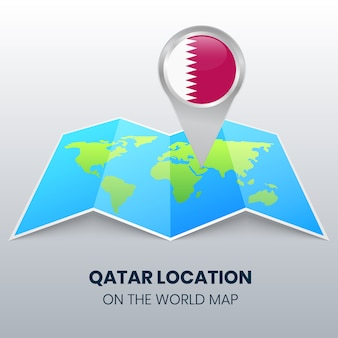 Location icon of qatar on the world map, round pin icon of qatar