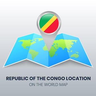 Location icon of republic of the congo on the world map round pin icon of republic of the congo
