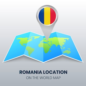 Location icon of romania on the world map