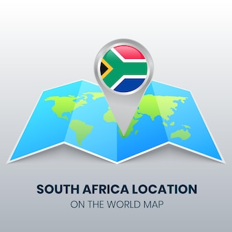 Location icon of south africa on the world map
