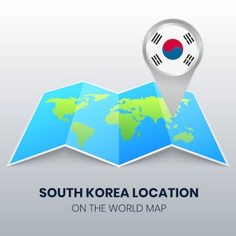 Location icon of south korea on the world map, round pin icon of south korea