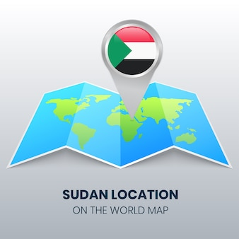 Location icon of sudan on the world map, round pin icon of sudan