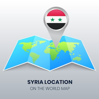 Location icon of syria on the world map, round pin icon of syria