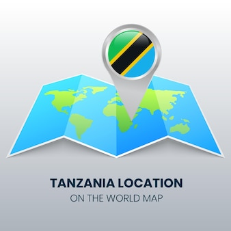 Location icon of tanzania on the world map