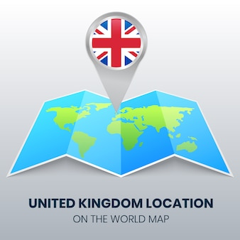 Location icon of united kingdom on the world map, round pin icon of uk