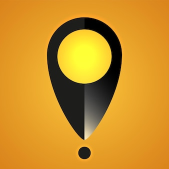 Location icon vector illustration map pin symbol in black color with realistic light