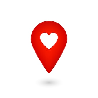 Location icon with heart, red pointer with like, marker