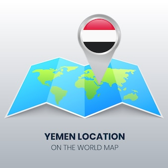 Location icon of yemen on the world map, round pin icon of yemen
