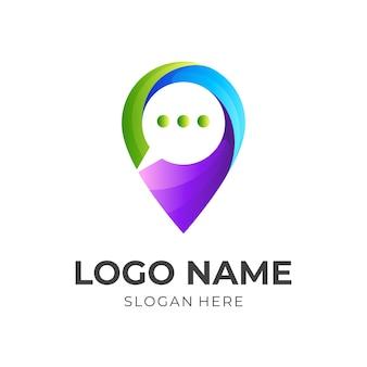 위치 로고 및 채팅 디자인 커뮤니케이션, 3d 다채로운 로고