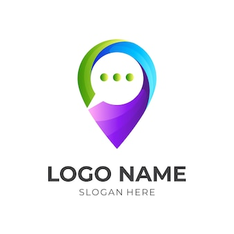 Location logo and chat design communication, 3d colorful logos