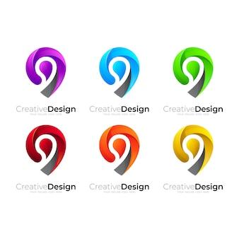 Location logo , set location logo with colorful design