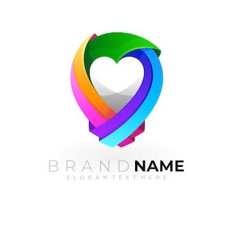 愛のデザインと場所のロゴ