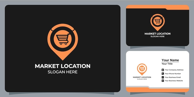 Location and market logo set and business card