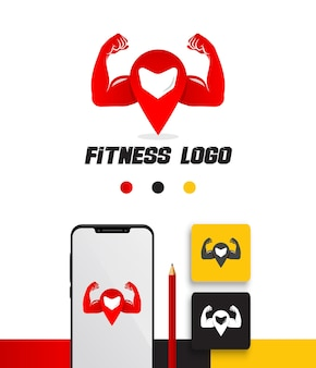 Location pin fitness logo template pack in gradient