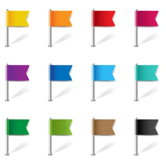 Location pin flags set isolated