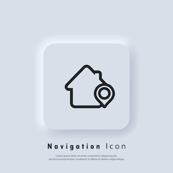 Location pin, store point. local marketing e-commerce campaign strategy. market and shop location pointer icon with shop. gps location. map pin icons. vector eps 10. ui icon. neumorphic ui ux
