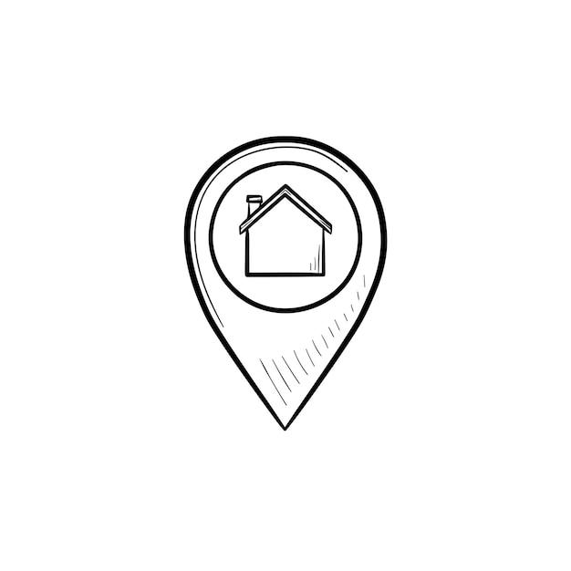 手描きのアウトライン落書きアイコンの中に家のある場所のピン。不動産、ナビゲーション、ホームロケーションのコンセプト。白い背景の上の印刷、ウェブ、モバイル、インフォグラフィックのベクトルスケッチイラスト。