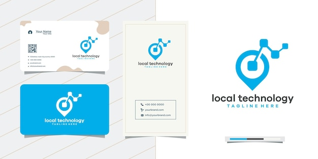 Location point logo design to network and business card design