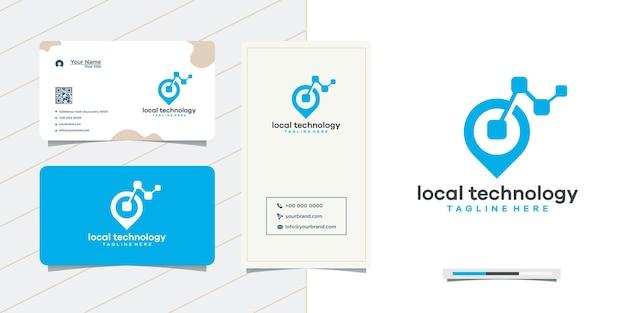 네트워크 및 명함 디자인에 위치 포인트 로고 디자인