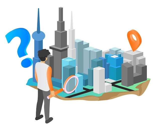 Location search isometric style illustration with urban map and character carrying magnifying glass