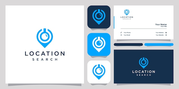 위치 검색 로고 디자인 아이콘 기호 벡터 템플릿 및 명함 디자인.