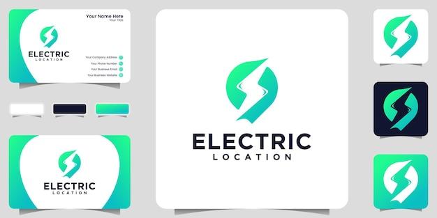 위치 기호 로고 및 에너지 스턴 템플릿 및 명함 디자인