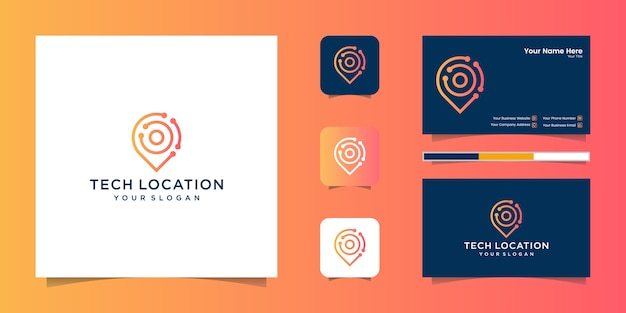 Location tech line art style and business card
