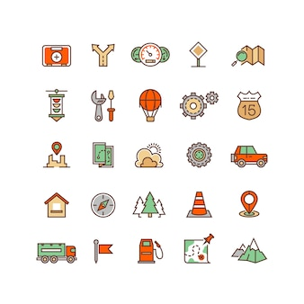 Location and travelling flat vector icons