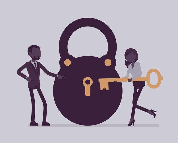 Замок и ключ, решение бизнес-задач и метафора принятия решений. мужчина и женщина готовы открыть, разблокировать секретный метод, найти новое разумное решение, заключение. векторная иллюстрация, безликие персонажи