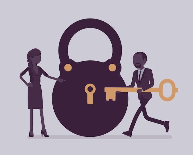 Замок и ключ, решение бизнес-задач и метафора принятия решений. мужчина и женщина готовы открыть, разблокировать секретный метод, формулу или процесс, найти ответ. векторная иллюстрация и безликие персонажи