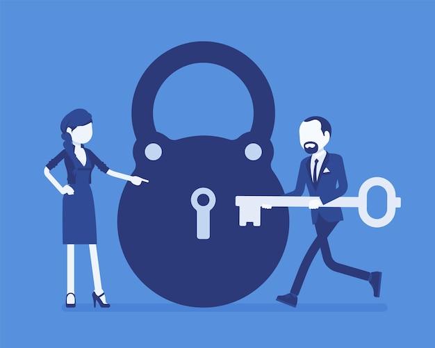Замок и ключ, решение бизнес-задач и метафора принятия решений Premium векторы