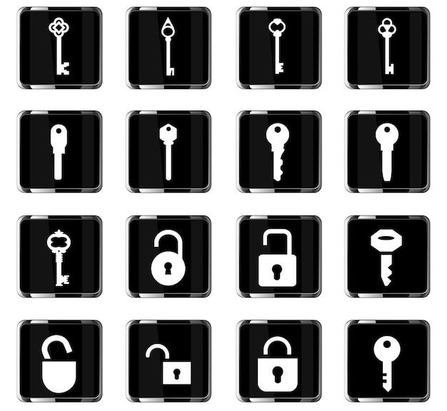 Замок и ключевые векторные иконки для дизайна пользовательского интерфейса