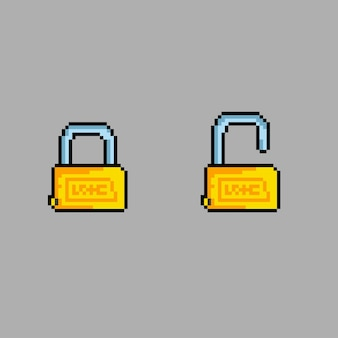 Блокировать и разблокировать замок в стиле пиксельной графики