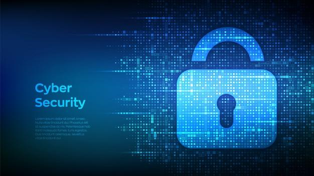 Замок. кибер-безопасности. замок с замочной скважиной значок с двоичным кодом. защита и безопасность или безопасная концепция.