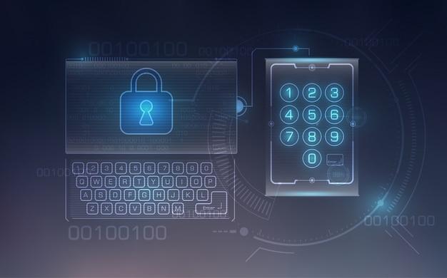 Lock on digital screen background