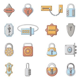Lock door types icons set