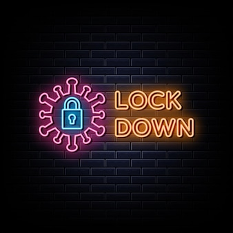 Lock down neon logo neon sign and symbol