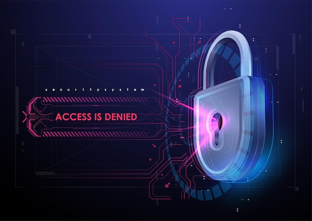 Lock in futuristic style. protection business concept. future technology template.