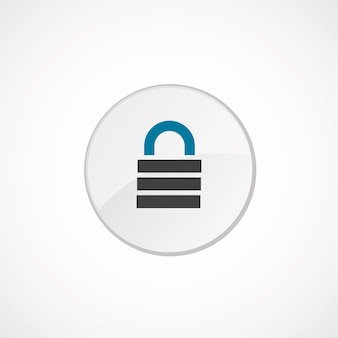 자물쇠 아이콘 2 색, 회색 및 파란색, 원형 배지